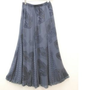 Soft Surroundings Skirt Paisley Embroidered Gored